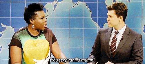 Right now my favorite part of Saturday Night Live is when Leslie Jones hits on Colin Jost. | Weekend Update | You sexy vanilla muffin