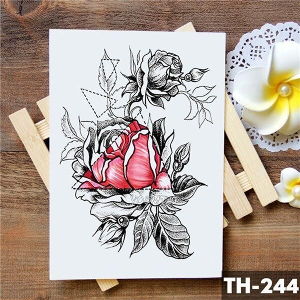 Geometric Flower Rose Eye Leaves Waterproof Temporary Tattoo Sticker Diamond Peo…