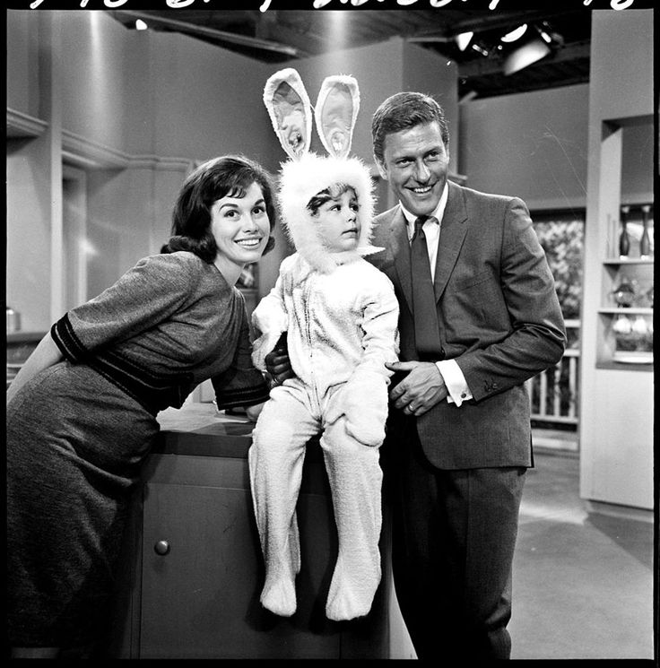 Mary Tyler Moore with Dick Van Dyke and Larry Mathews
