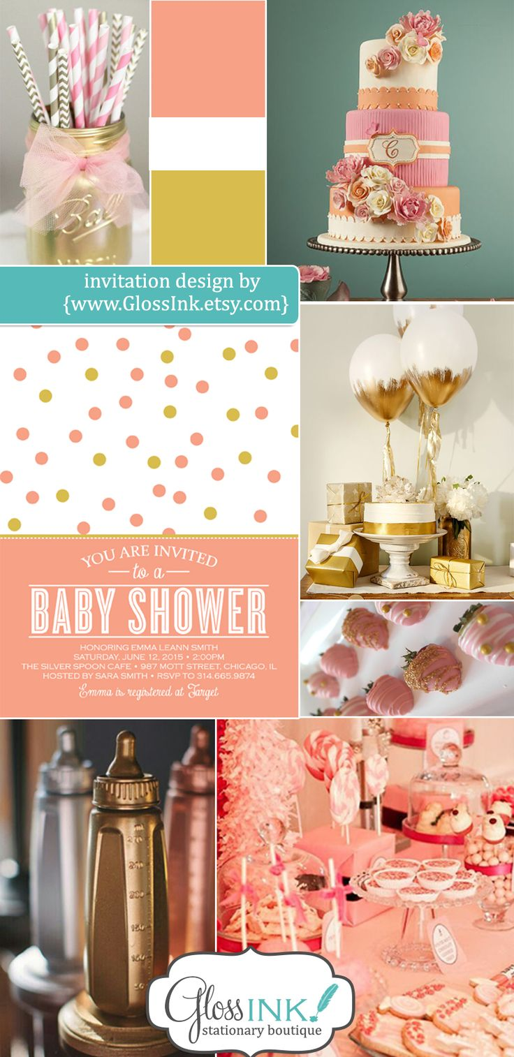 Baby Shower Invitation Confetti polka dots