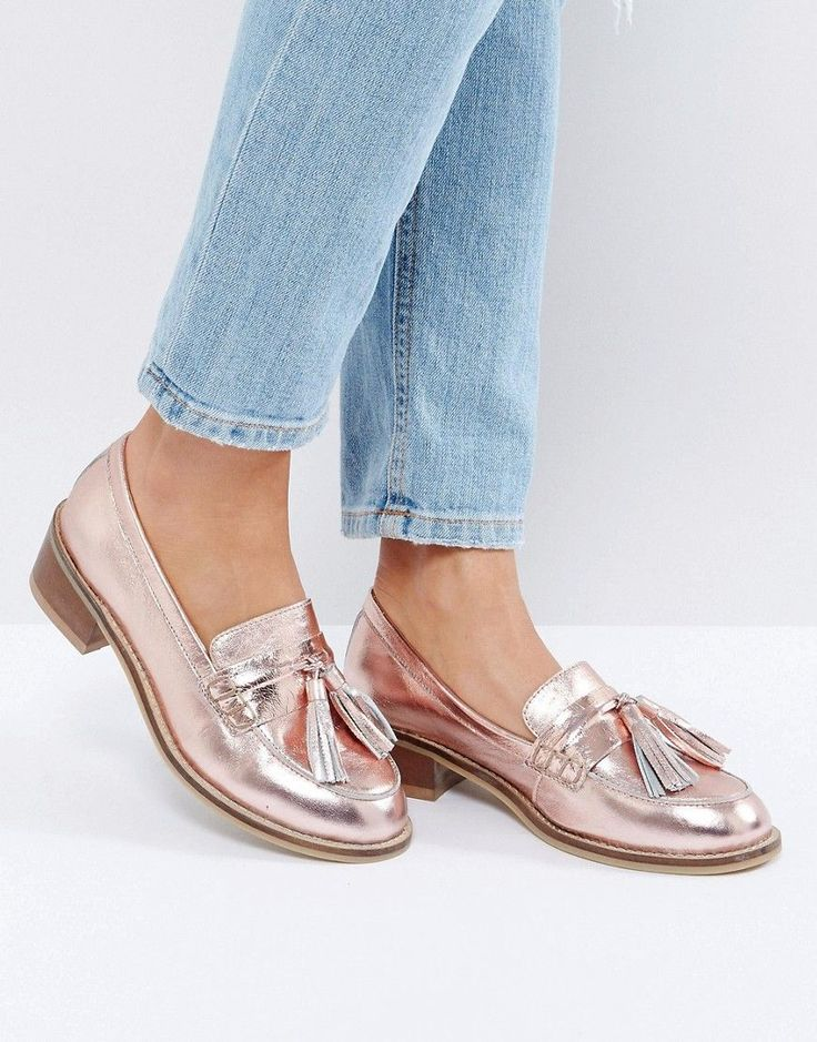 Park Lane Leather Kitten heel LoaferS - Copper