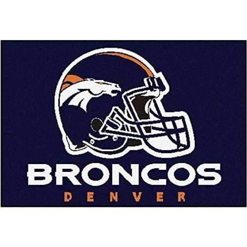 19 X 30 NFL Broncos Door Mat Printed Logo Football Themed Sports Patterned Bathroom Kitchen Outdoor Carpet Area Rug Gift Fan Merchandise Vehicle Team Spirit Orange Navy Nylon