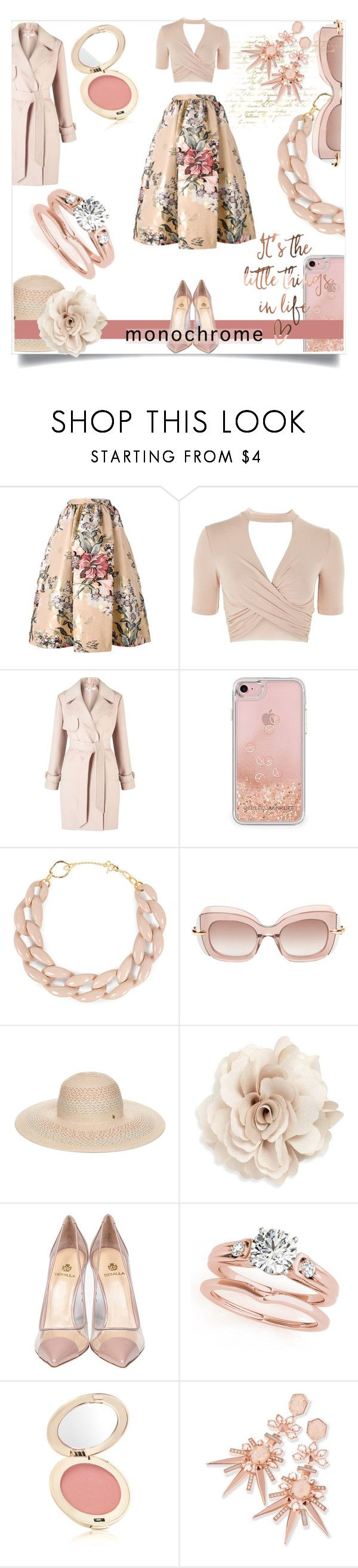 """Color Me Pretty: Head-to-Toe Pink"" by kari-c ❤ liked on Polyvore featuring Fendi, Topshop, Miss Selfridge, Rebecca Minkoff, DIANA BROUSSARD, Pomellato, BCBGeneration, Cara, Semilla and Jane Iredale"