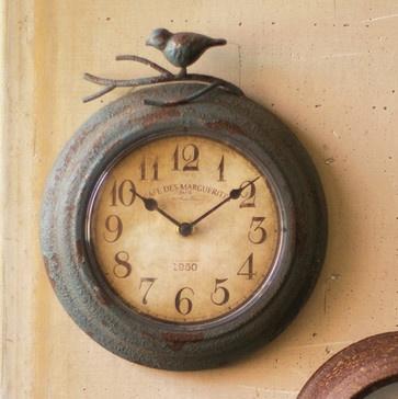 Metal Clock with Bird - eclectic - clocks - atlanta - Iron Accents