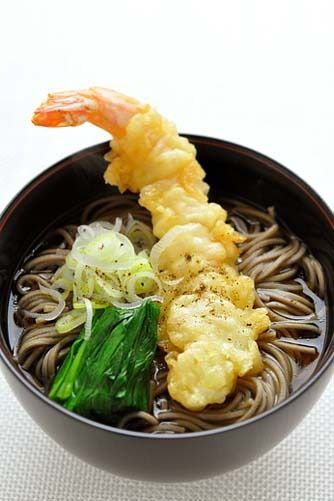 Toshikoshi Soba, Japanese Buckwheat Noodles Soup with Prawn Tempura, Traditionally Eaten at New Year's Eve Night in Japan