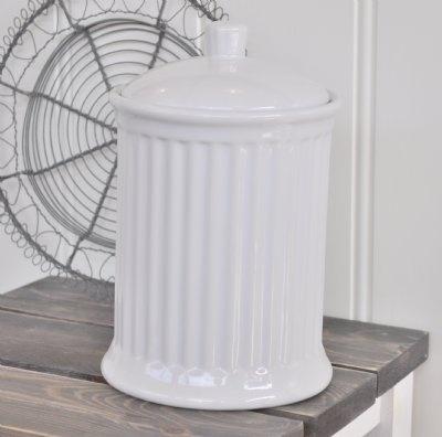 Ljuvlig förvaringsburk i stengods från serien Mynte i färgen Pure White.   Bra förvaring till t.ex flingor, mjöl, havregryn, kakor.