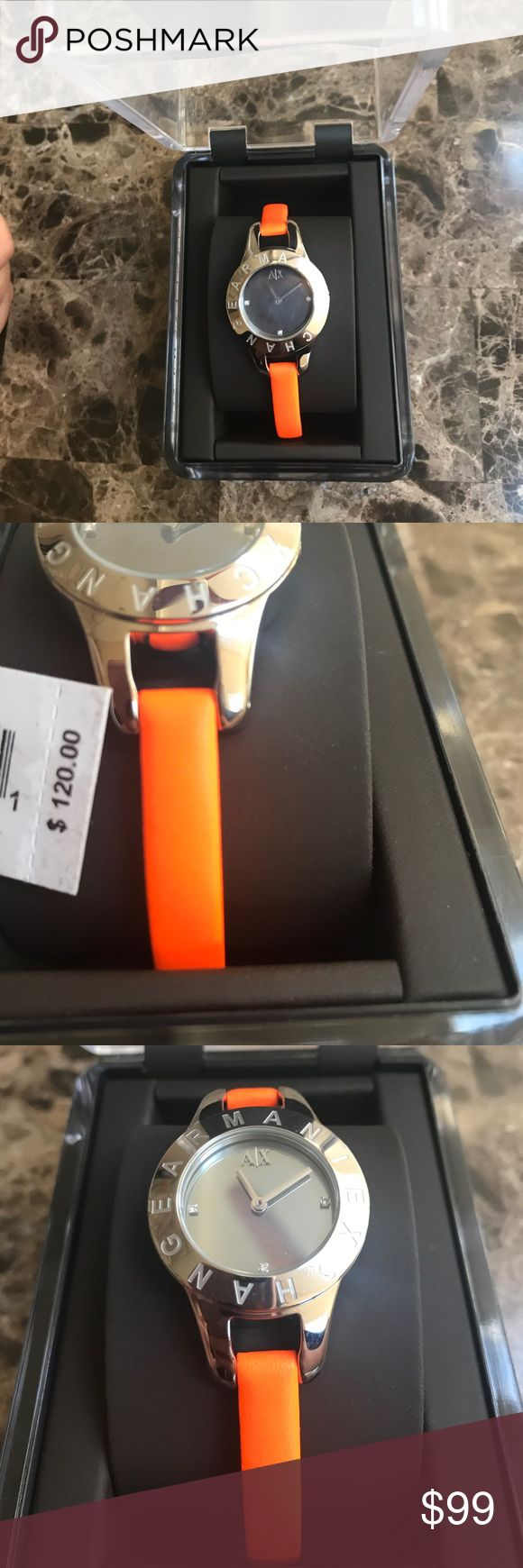 Armani watch Women's Armani Exchange watch. NWT. Color is a bright beautiful orange that would look stunning with any dress, bangles, or a pair of shorts. Armani Exchange Accessories Watches