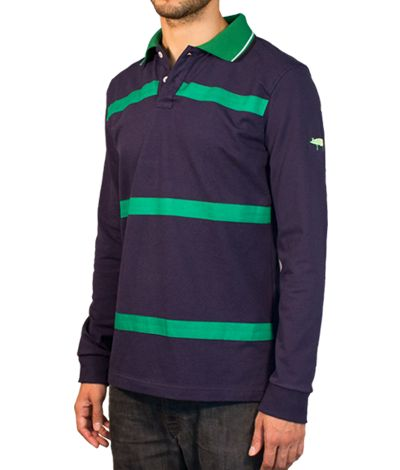 Blue Polo shirt with green stripes and long sleeves, 100% cotton. This Polo shirt has its cuffs, button holes and thread colored in back. Its green collar, with a light green interior tape, combine with horizontal stripes on the front. The pig logo on the sleeve undoubtedly provides a touch of originality and differentiation. http://www.tailor4less.com/en/collections/custom-polo-shirts/stylo/pastor