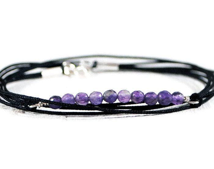 Amethyst Triple Wrapped Bar Bracelet. Gemstone Sterling Silver Wire Wrapped Bracelet. Minimalist Delicate Modern Bracelet. GSminimal Jewelry