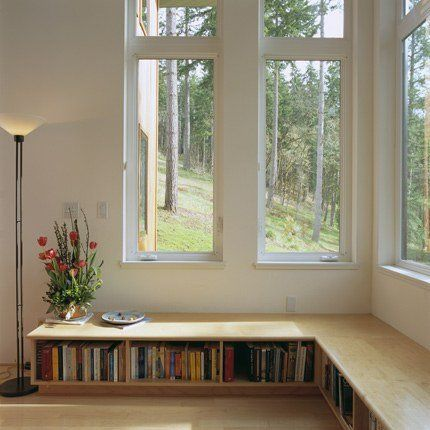 bookshelf window seat bench
