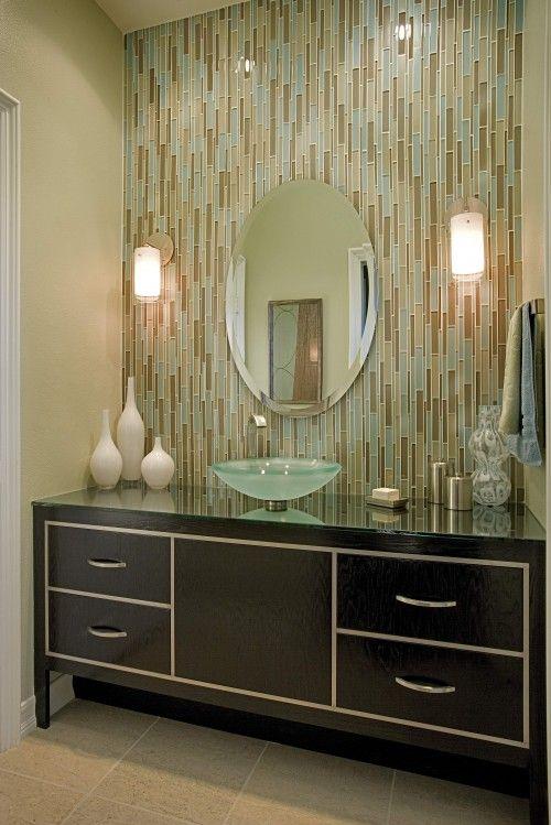 megan crane designs quilt of glossy tile behind the vanity a simple - Vertical Tile Backsplash