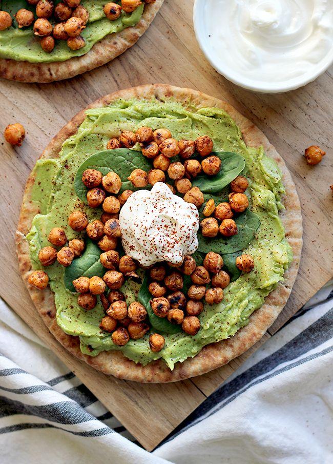 Simply Avocado and Toasted Chickpea Pitas