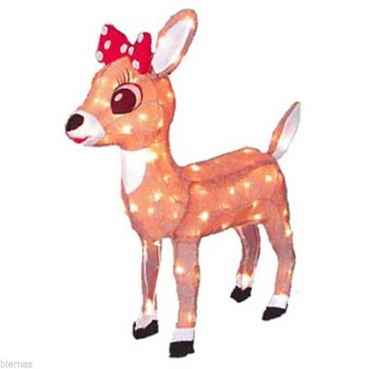 24 lighted tinsel rudolph clarice reindeer outdoor for Outdoor lighted christmas ornaments