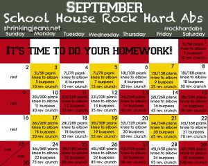 September Fitness Calendar from @just a girl Jeans - School House Rock Hard Abs. www.shrinkingjeans.net #fitness #abs #monthly