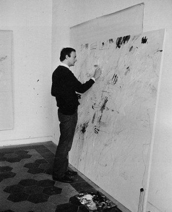 Cy Twombly by Mario Dondero in his studio, Rome 1962