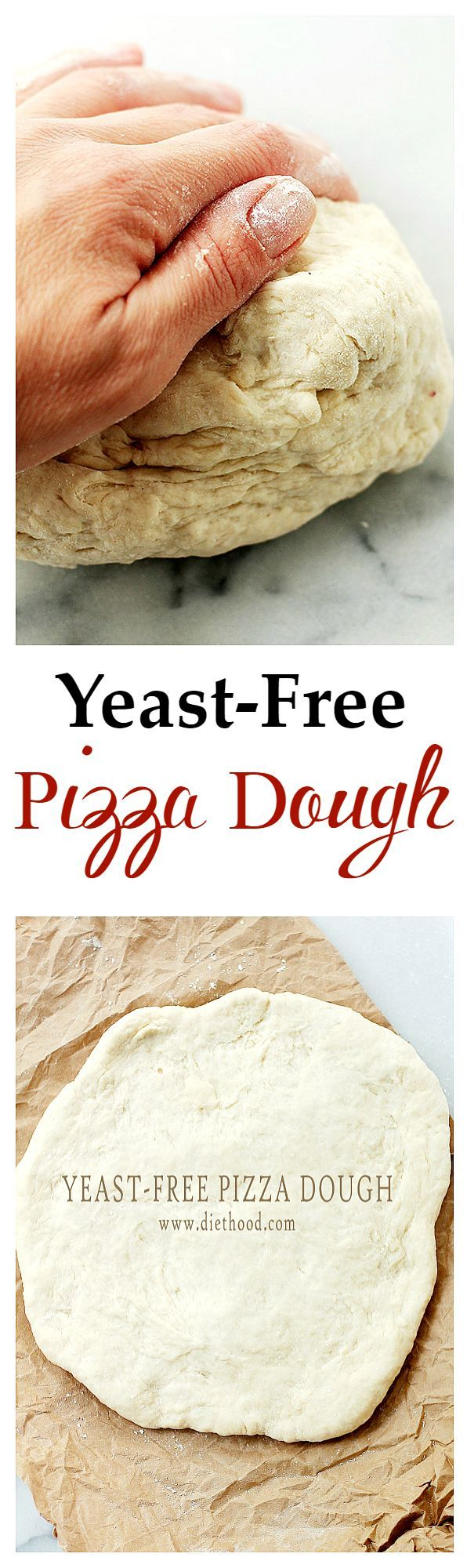 Yeast-Free Pizza Dough | www.diethood.com | Fast and simple recipe for Pizza Dough made without yeast! This is very good and SO easy to make!