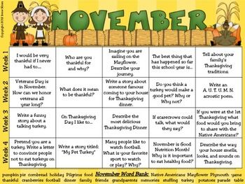 November & Thanksgiving Writing Prompt Calendar ~ {Based On Common Core Standards} ~ A November writing calendar with 20 writing prompts ~ Variety of journal covers to choose from. ~ Writer's checklist for students to remind children what to focus on while writing. ~ A variety of November, Thanksgiving and Autumn writing paper designs, each with two different line types. This calendar was created without specific dates or days of the week so it can be a resource used year after year. $