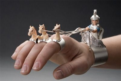 """Cuff & rings   Monika Krol. """"Return from Victory"""" Silver and found objects"""