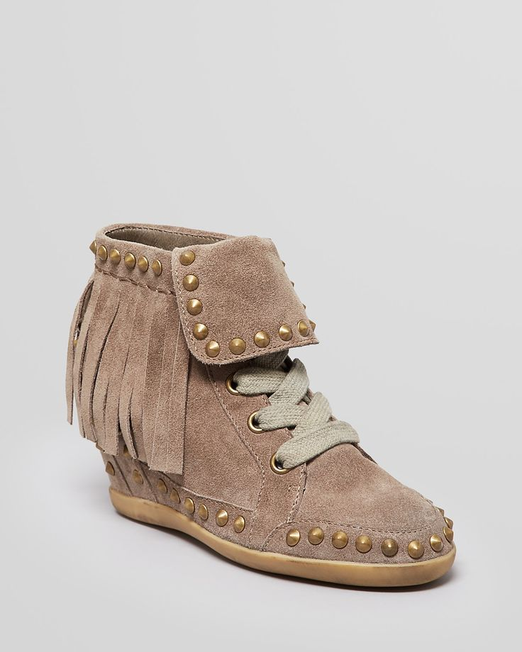 Ash Lace Up High Top Wedge Sneakers - Baba Studded