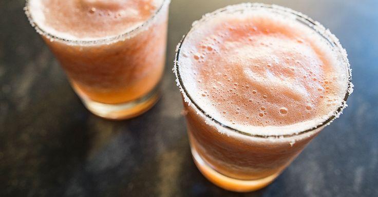 The Three-Ingredient Sloshy Dog... grapefruit slush.  grapefruit, vodka, ice & sugar + a blender.. yum!