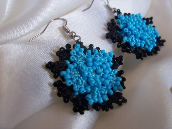 Light blue and black BEADED EARRINGS 'OYA' by colourfulrose, $14.90