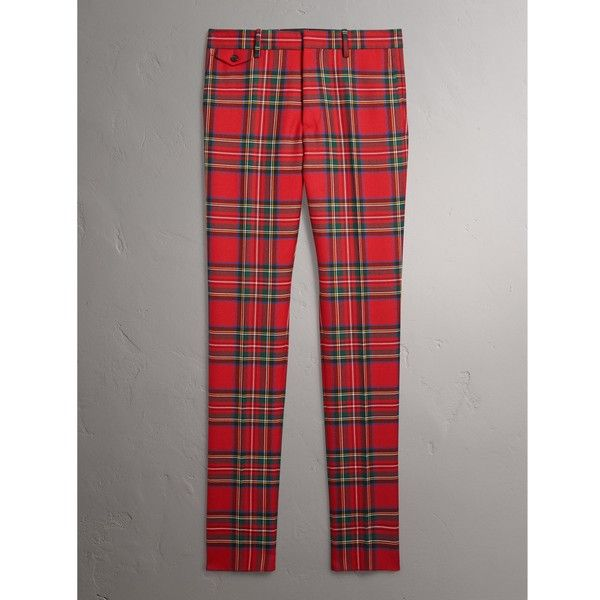 Burberry Tartan  Tailored Trousers (28.455 RUB) ❤ liked on Polyvore featuring men's fashion, men's clothing, men's pants, men's dress pants, mens slim fit dress pants, mens slim fit pants, mens herringbone pants, mens plaid dress pants and mens zipper pants