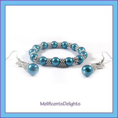 Blue pearlised beaded glass bracelet & earring set - gift boxed - tibetan style  £5.99 free shipping