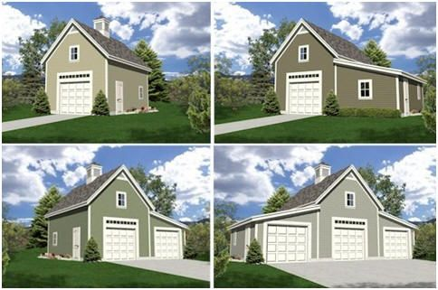 Expandable Detached Garage Plans with Loft and Optional Workshop - Build any of 18 different layouts of one, two and three-car garages and workshops from the same $29.00, downloadable, architect-designed plan set.