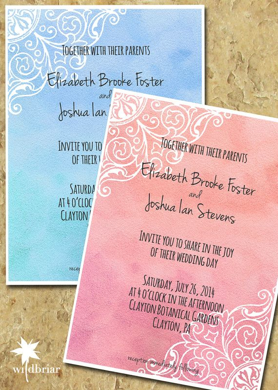 Watercolor Printable Wedding Invitation, Batik Style in Pink or Blue