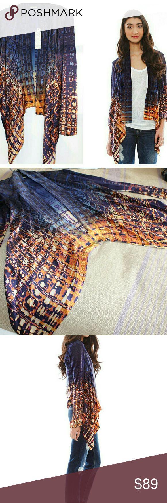 "100% silk ""Dip dye"" jacket kimono beautiful item!! Open front, long sleeve, silk jacket - tie dye look Twelfth Street by Cynthia Vincent Jackets & Coats Capes"