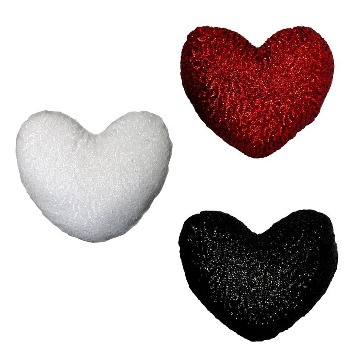 Sequined Heart Shape Filled Cushion 30 x 35 cm by Georges Fine Linens