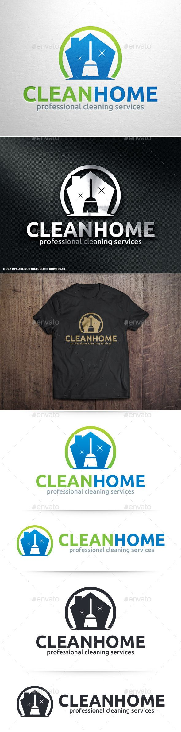 Clean Home Logo Template — Vector EPS #blink #floor • Available here → https://graphicriver.net/item/clean-home-logo-template/10992473?ref=pxcr