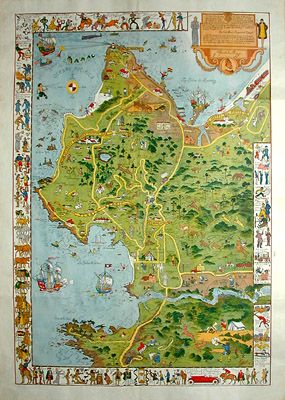 Monterey Peninsula map by Jo Mora