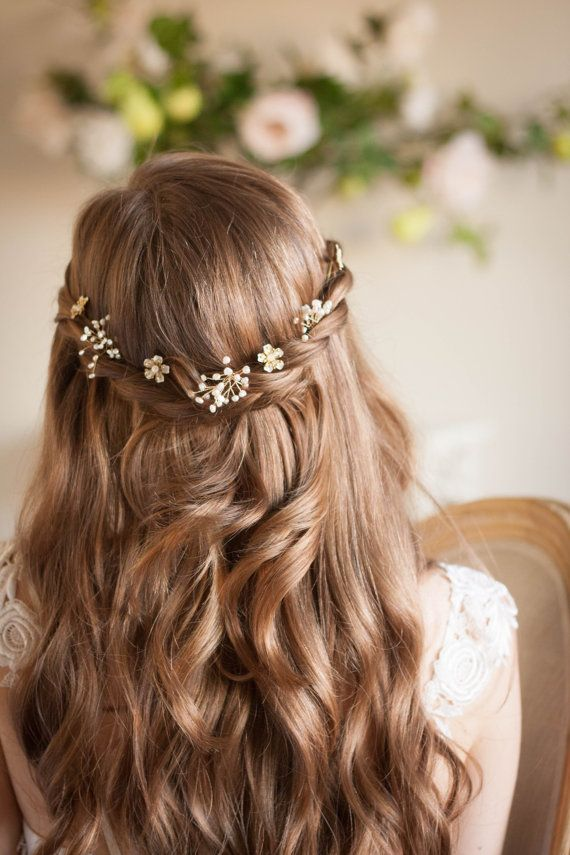 Babies breath and blossom hair pin set bridal by AnnaMarguerite