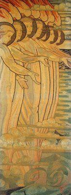 """The Salvation of Mankind"" Silk and gold thread on linen, 1885-93. City art Centre, Edinburgh. Phoebe Anna Traquair (1852 - 1936)"