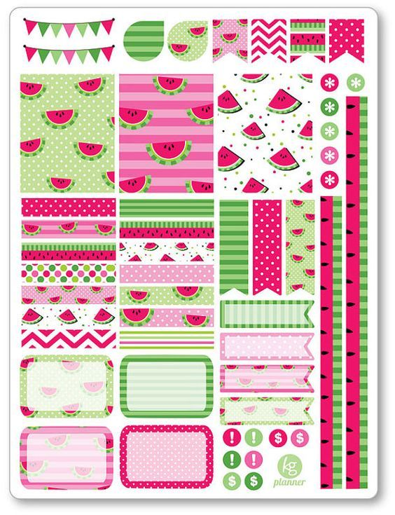 Watermelon Decorating Kit / Weekly Spread Planner by PlannerPenny:                                                                                                                                                                                 Mais