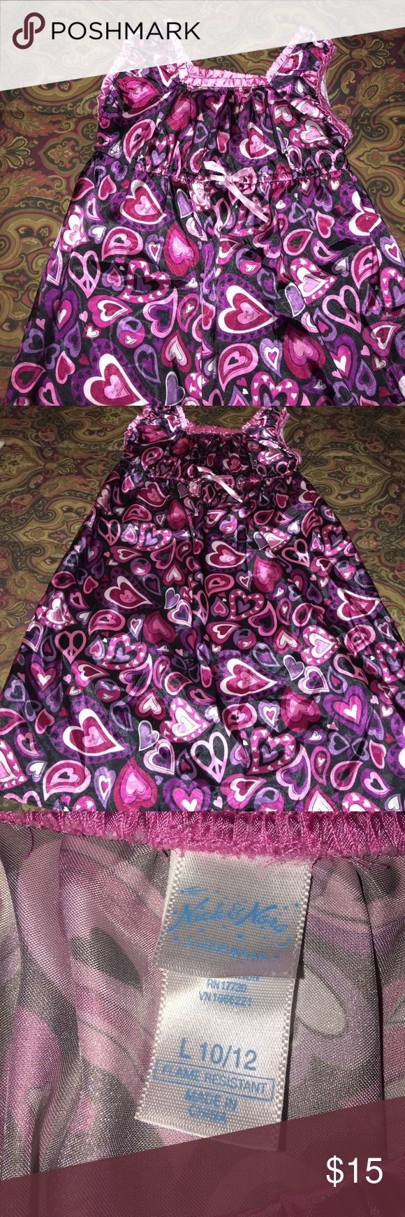 Girls Silky Flame Retardant Gown By Nick & Nora This gown is EUC. My grand wore it once. Soooo adorable and cool💕💕💕 Nick & Nora Pajamas Nightgowns