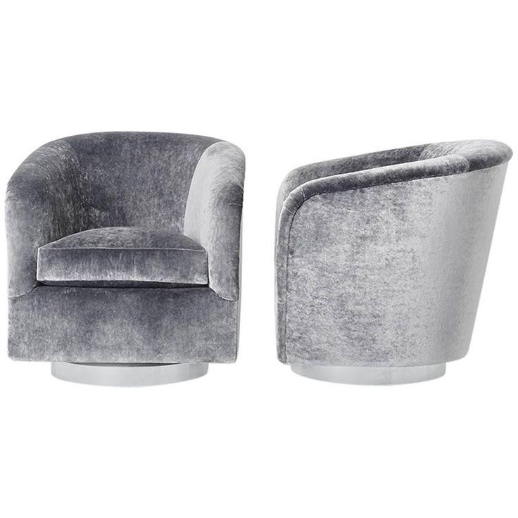 Milo Baughman, Pair Of Grey Velvet Swivel Chairs, USA, Circa 1970s