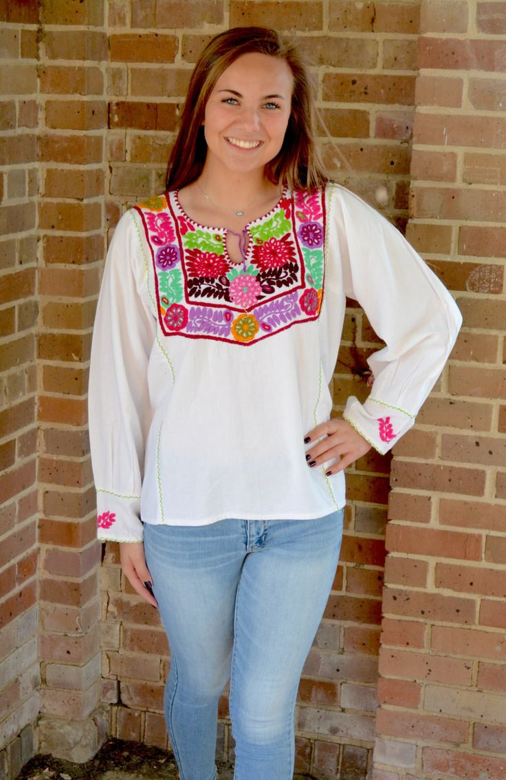 Mexican Blouse // Long sleeve Mexican Blouse // Hand embroider Top by TheMexicanGringo on Etsy