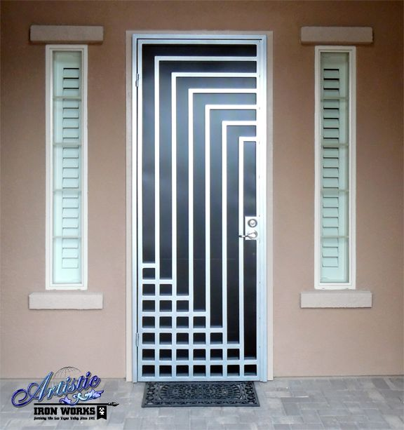 Escher - Powder Coat Silver with Black Perf (screen) wrought iron security screen door - Model: SD0214