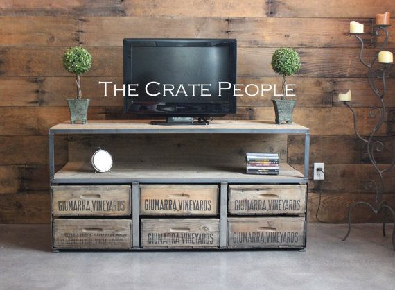 Reclaimed Barn Wood & Wood Crates  6  Drawer TV by FoundInAttic