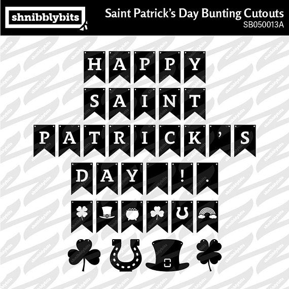 Saint Patrick's Day Bunting Banner Cutouts  SVG DXF
