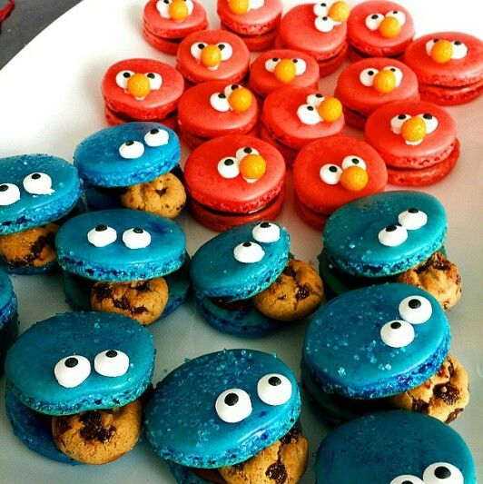 Seseame Street Macarons, Cookie Monster and Elmo