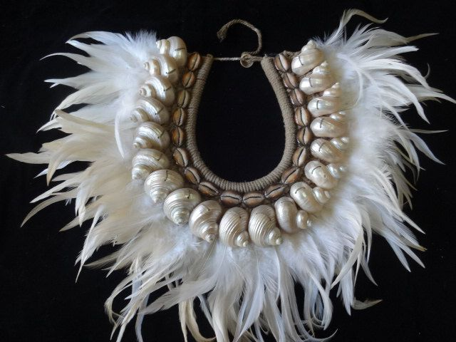 Sea Shell NecklaceTribal Feather Adornment Papua New Guinea Fashion Style by ubudexotica on Etsy