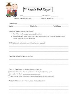 Third Grade book report template. Includes setting, characters, problem, solution, and illustration components. My store offers an additional free presentation form: an option to demonstrate their understanding of the book through creative presentation selections.