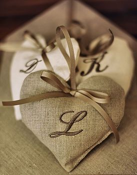 monogrammed linen heart by pins and ribbons | notonthehighstreet.com