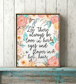 Bohemian Nursery Print- Baby Girl Nursery Floral Print, Coral Baby Print, Little Girls Quote Print, Boho Baby Girl, Baby Shower Gift by WhiteEarsDesigns on Etsy https://www.etsy.com/listing/466956775/bohemian-nursery-print-baby-girl-nursery
