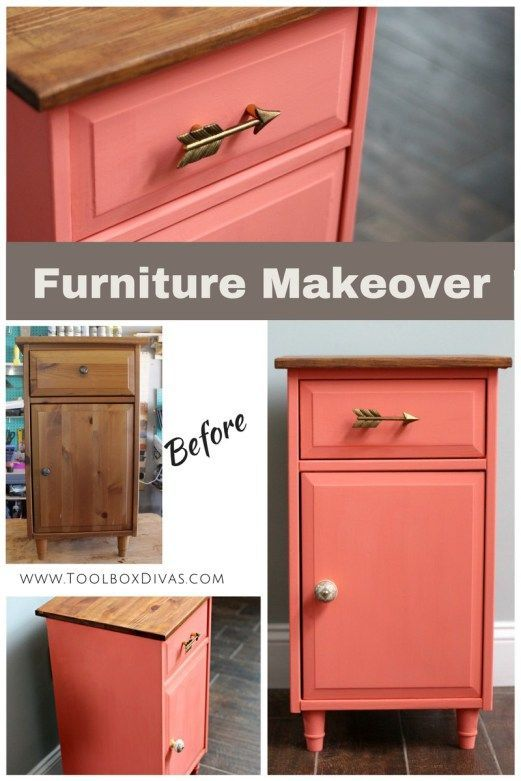 Furniture Makeover. With the perfect paint, hardware and stain you can totally transform old furniture. Great Christmas gift!! Toolbox Divas #furniture #painting #makeover #redo #upcycling #DIY #refinish