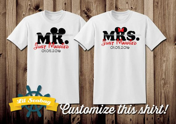 just married disney, disney couples shirts, disney shirts, disney marriage shirts, disney wedding, wedding shirts, mr and mrs, hubby wifey