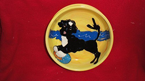 Portuguese Water Dog 10 Dog Bowl for Food or Water Personalized at no Charge Signed by Artist Debby Carman -- Click on the image for additional details.